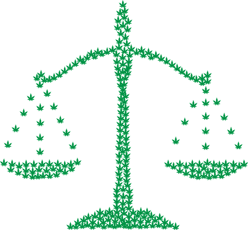 Scales of justice made of marijuana leaves.